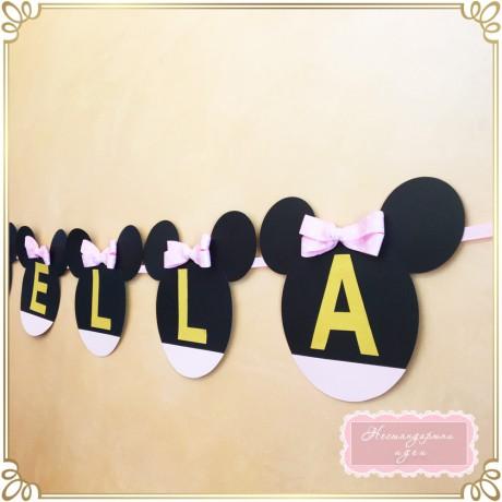 Надпис за рожден ден Мини Маус с розова панделка