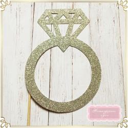 Фото пропс - пръстен с диамант от брокатен картон